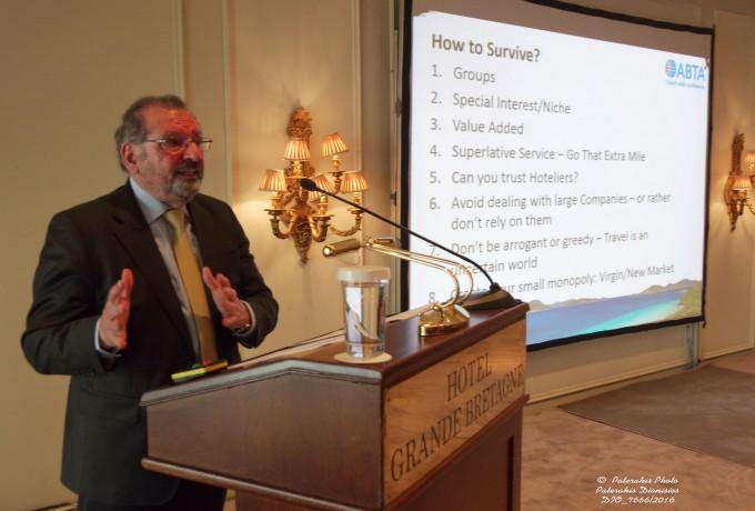 Στιγμιότυπο από την ομιλία του Προέδρου της ΑΒΤΑ (UK's Travel Association), Mr. Noel Josephides